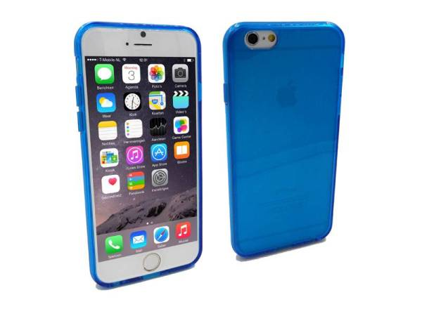 Siliconen Gel TPU iPhone 6 en 6S Hoesje Blauw Transparant