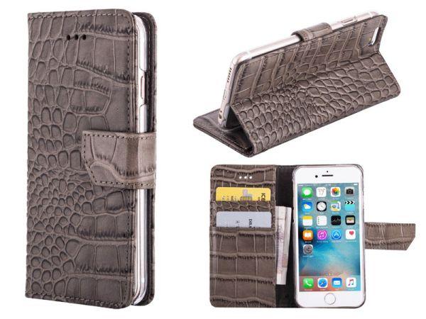 iPhone 6 en 6S Bookcase Hoesje Krokodil Leder Grijs