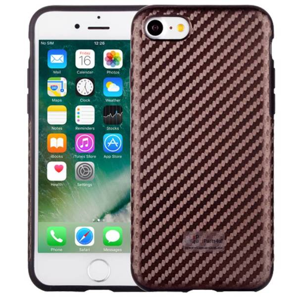 Elegant iPhone 8/7 Hoesje Siliconen Carbon Bruin