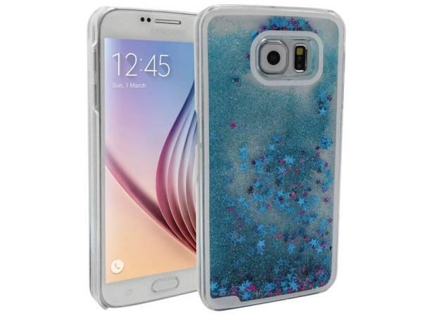 Samsung Galaxy S6 Bewegend Glitter Hoesje Blauw Roze Sterretjes