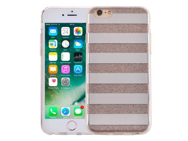 iPhone 6 en 6S Glitter Hoesje Hardcase Strepen Multicolor