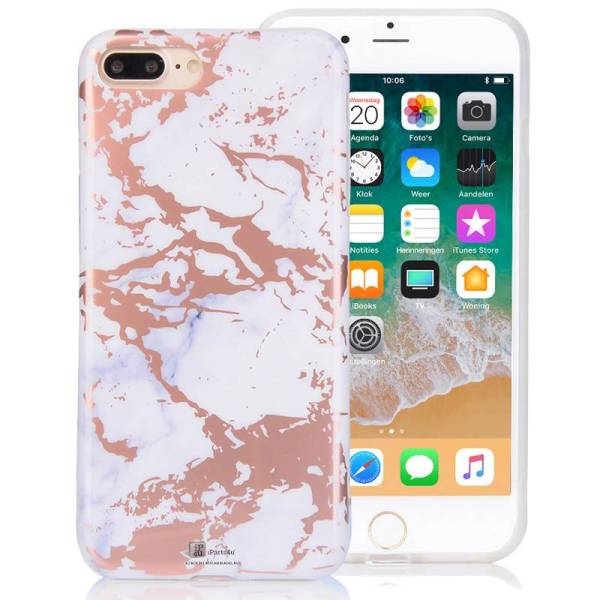 Wit Marmer iPhone 8/7 Hoesje Siliconen Chrome Rose Goud