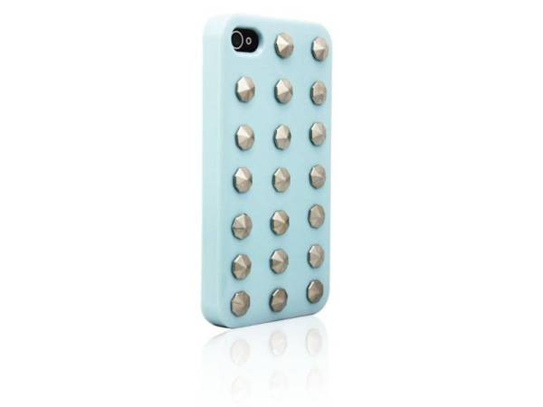 Hardcover Snap Case hoesje iPhone 4/4S ronde studs baby blauw