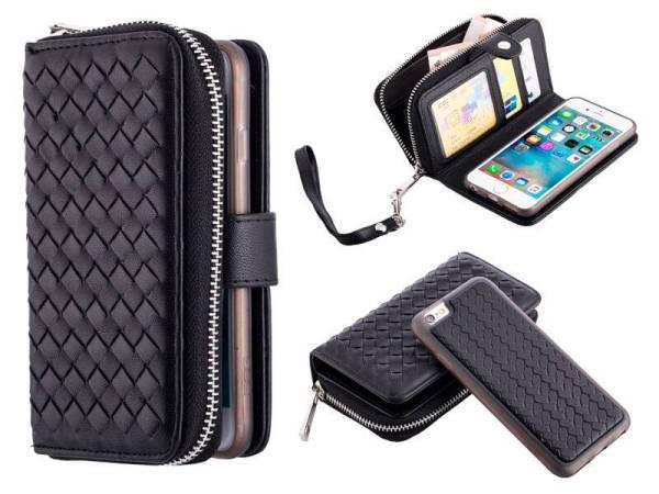 iPhone 6 en 6S Hoesje Portemonnee Clutch Gevlochten Zwart