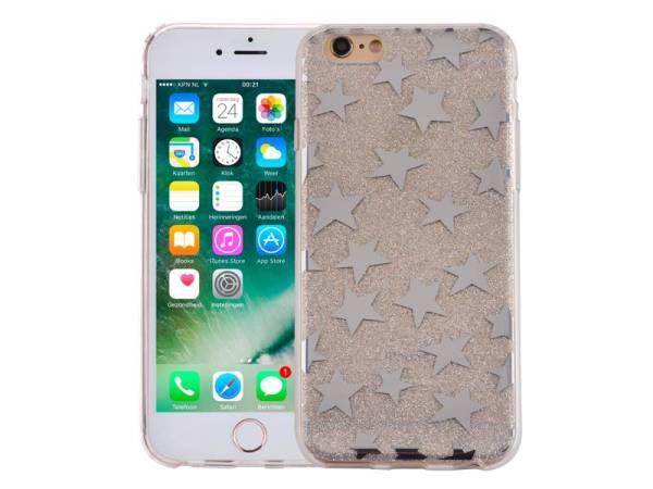 iPhone 6 en 6S Glitter Hoesje Hardcase Sterretjes Zilver