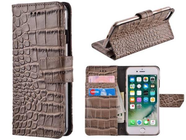 iPhone 8 / 7 Bookcase Hoesje Krokodil Leder Grijs
