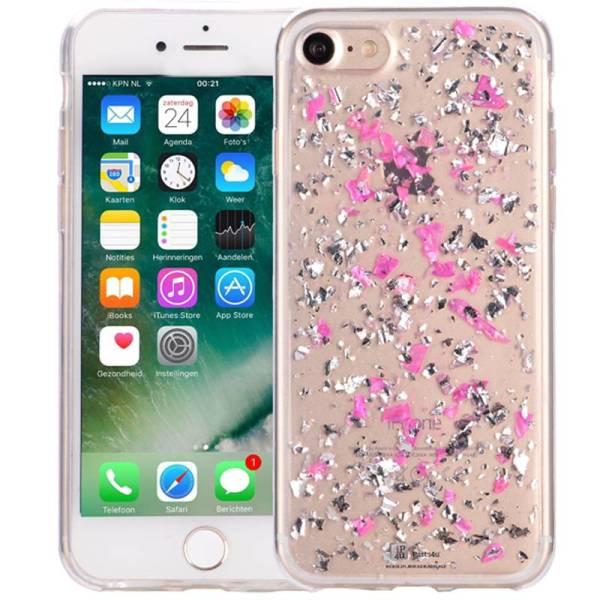 iPhone 8/7 Glitter Hoesje Snippers Parelmoer Roze