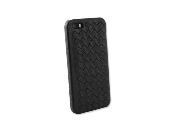 iPhone 5/5S Hardcover Case Gevlochten Leder zwart