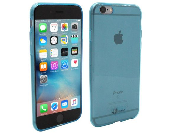iPhone 6S Hoesje Ultra Dun Siliconen Blauw Transparant
