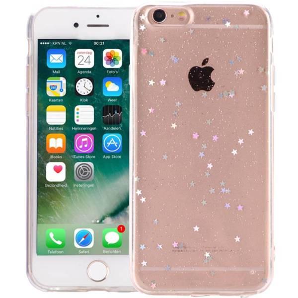 iPhone 8/7 Glitter Hoesje Siliconen Sterretjes Transparant