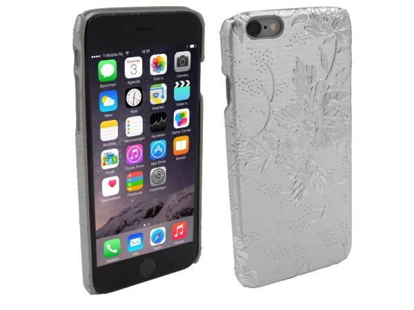 Hardcover hoesje iPhone 6 en 6S Bloemen Zilver
