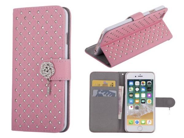 iPhone 8 en 7 Bookcase Hoesje Diamantjes Roos Roze