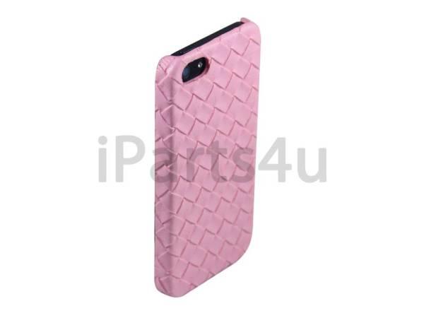 Gevlochten Leder iPhone 5/5S Hardcover Snap Case Roze