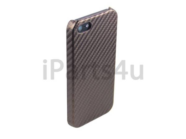 iPhone 5/5S Hoesje Carbon Hardcover Bruin