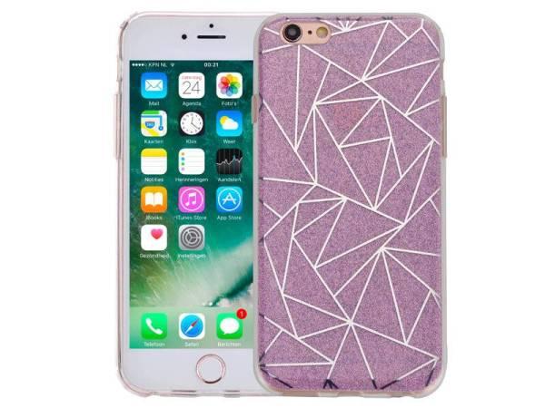 iPhone 6 en 6S Hardcase Glitter Mozaïek Paars