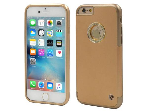 iPhone 6/6S Aluminium TPU Hardcase Hoesje Diamantjes Goud