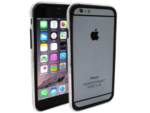 iPhone 6 en 6S Bumper Dubbel Zwart Zilver Diamantjes