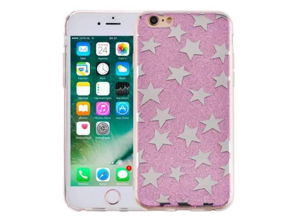 iPhone 6 en 6S Glitter Hoesje Hardcase Sterretjes Paars