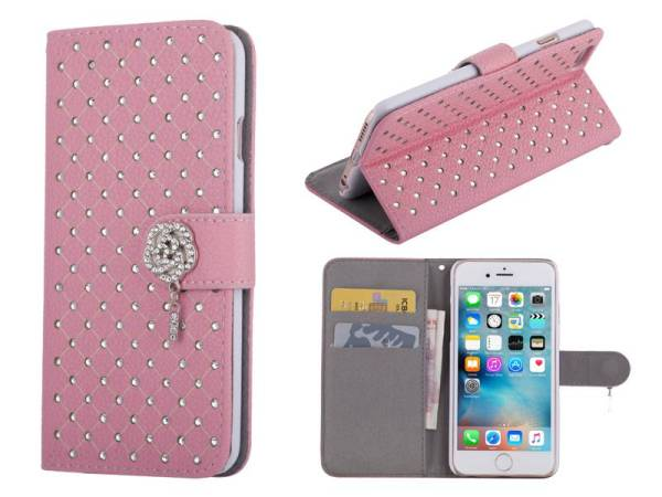 iPhone 6 en 6S Bookcase Hoesje Diamantjes Roos Roze