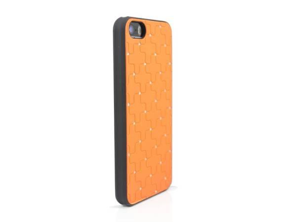 iPhone 5 / 5S Hardcover Hoesje Diamantjes Oranje