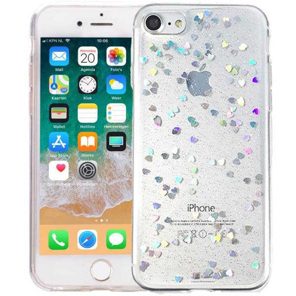iPhone 8/7 Glitter Hoesje Siliconen Hartjes Transparant