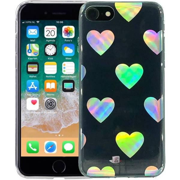 iPhone 8/7 Hoesje Siliconen Hologram Hartjes Transparant