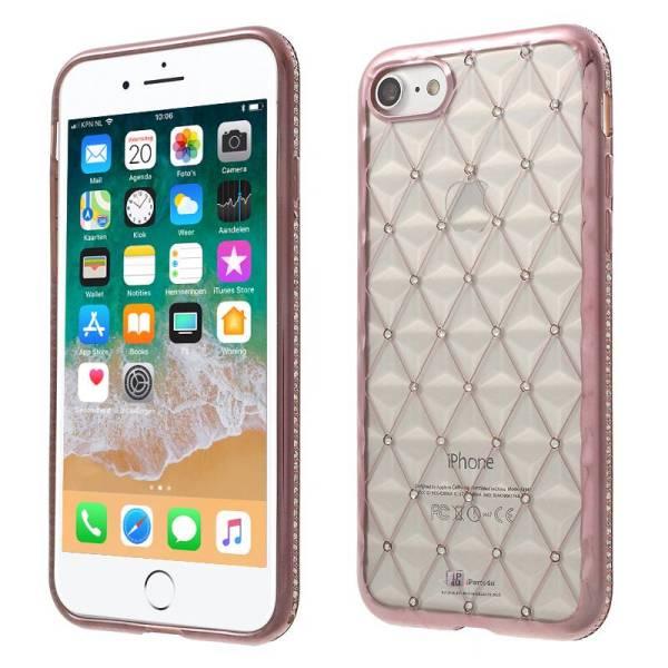 Exclusief iPhone 8/7 Hoesje Diamantjes Ruitjes 3D Rose Goud