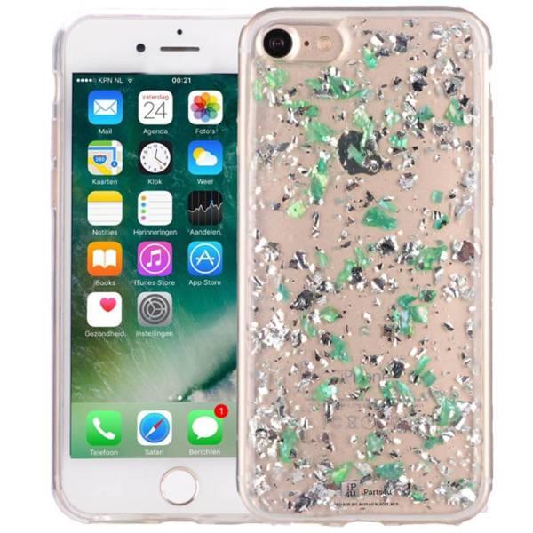 iPhone 8/7 Glitter Hoesje Snippers Parelmoer Groen