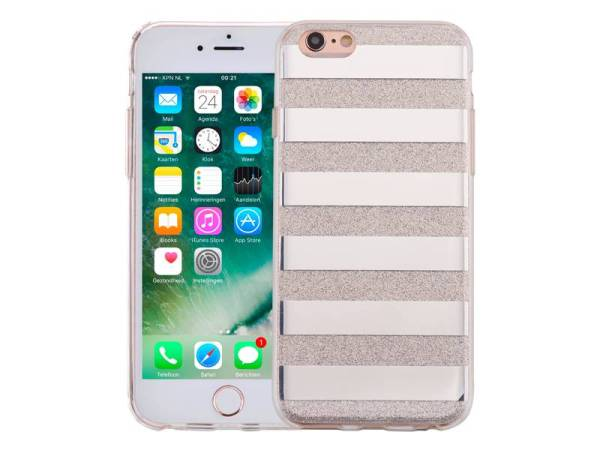 iPhone 6 en 6S Glitter Hoesje Hardcase Strepen Zilver