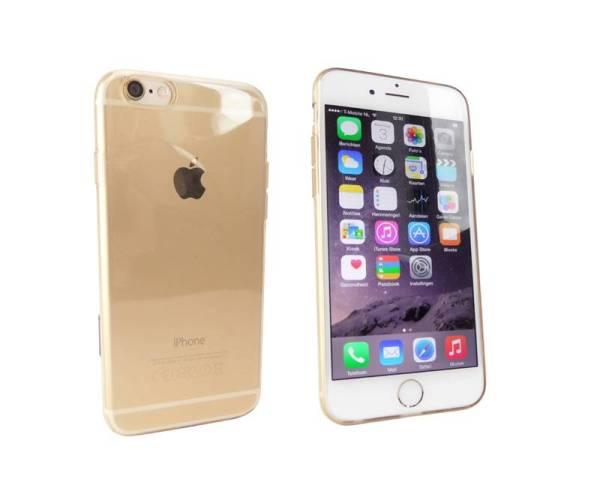 iPhone 6 Ultradun Siliconen Gel Hoesje Goud Transparant