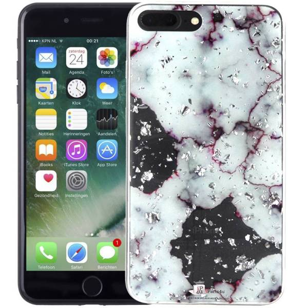 Marmer iPhone 8 Plus en 7 Plus Hoesje Snippers Paars Siliconen
