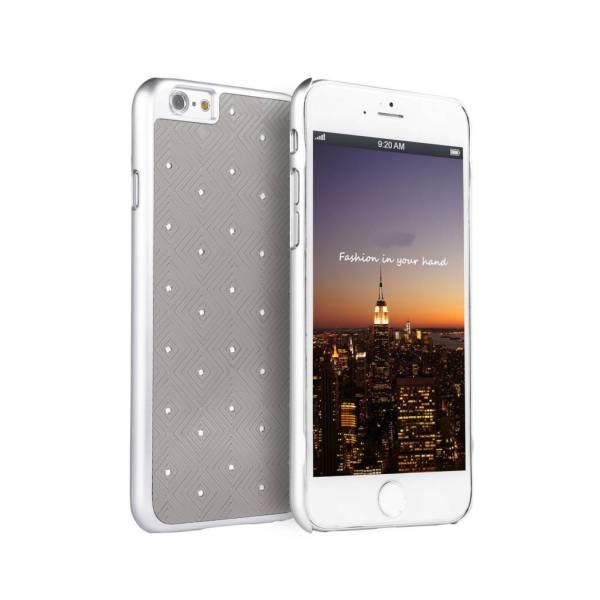 iPhone 6 en 6S Hardcover Case Hoesje Ruitjes Diamantjes/Strass Zilver