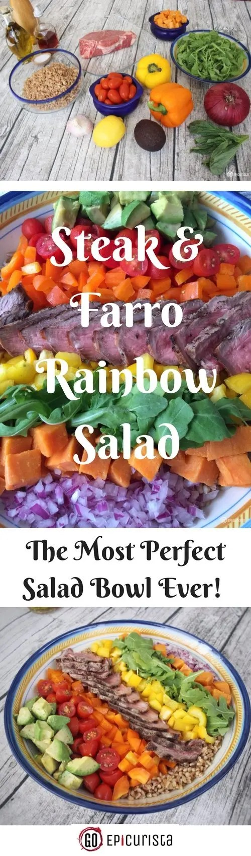 Steak and Farro Rainbow Salad with #SundaySupper by GoEpicurista.com