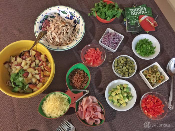 Cuban Garlic Mojo Potato Salad and Tips for Easy Entertaining on game day #SundaySupper #GameDayIdahoPotatoes