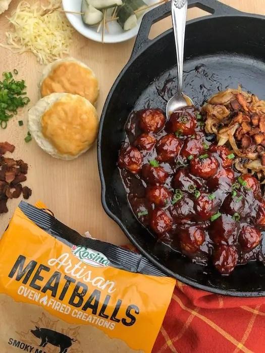 Southern BBQ Meatball Sliders recipe using Rosina Smoky Maple Bacon Artisan Meatballs by GoEpicurista.com