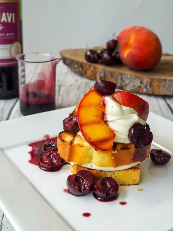 Grilled Peaches & Wine Poached Cherries Mascarpone Whipped Cream Stack Recipe with CK Mondavi & Family Wines