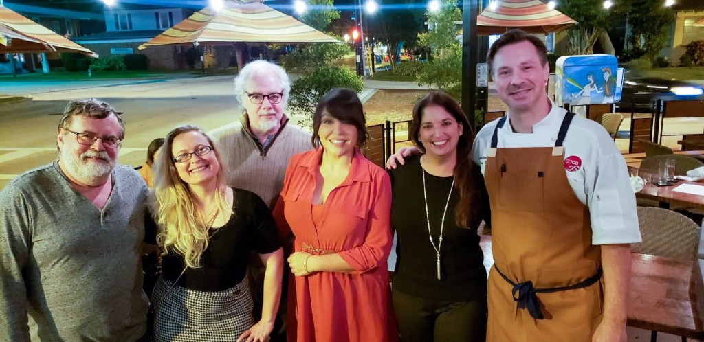 Irina and Richard Pabis, Joseph Hayes, Jesslyn Hernandez, Christina Thomas and Chef Greg Richie at Soco 5 Year Anniversary Dinner