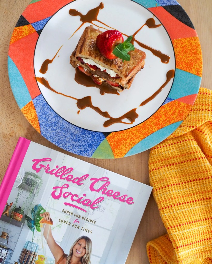 Churro French Toast Grilled Cheese with Strawberry Dulce De Leche inspired by Grilled Cheese Social Cookbook and New Smyrna Beach