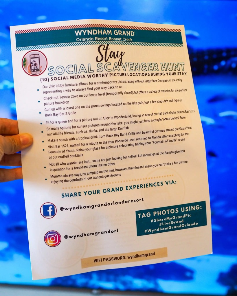 The Scavenger Hunt. 29 Socially Distanced Fun Things To Do on Vacation at Wyndham Grand Orlando Resort Bonnet Creek