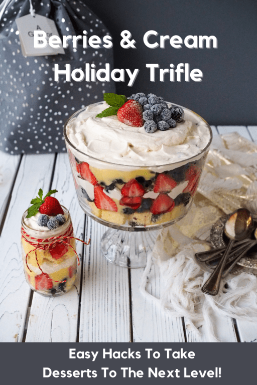 Check out this Berries and Cream Holiday Trifle Recipe!  Perfect for holiday parties & gifts. Plus don't miss these easy hacks to take your holiday desserts to the next level! #TGLeeHolidays. (Ad)