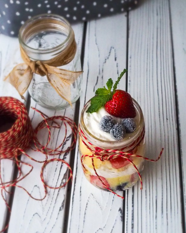 Berries and Cream Holiday Trifle recipe individual dessert gifts
