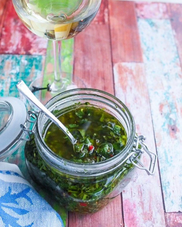 Easy chimichurri style fresh herb sauce to elevate every dish and the wine that pairs with everything, CK Mondavi & Family.