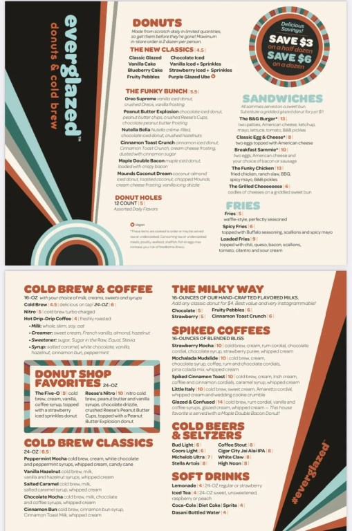 Everglazed Donuts and Cold Brew menu