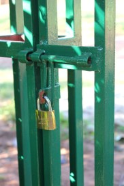 New lock and green painted entrance gate