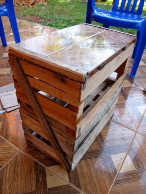 We learned how to make an end table out of wooden vegetable crates