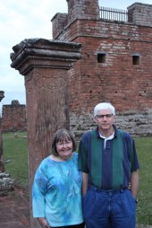 Mom and dad at Jesuit Mission Ruins in Trinidad, Paraguay