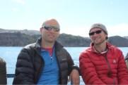 Marvin, Isaiah taking boat from Copacabana to Isla del Sol