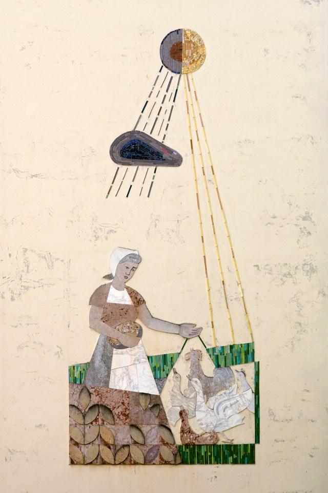Wandmosaik an einem Wohnhaus in Salzburg