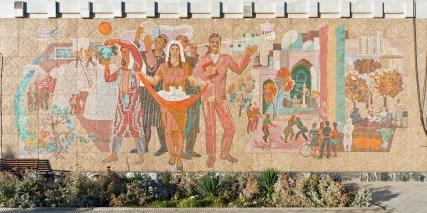 Wandmosaik am Bahnhofsgebäude Buchara