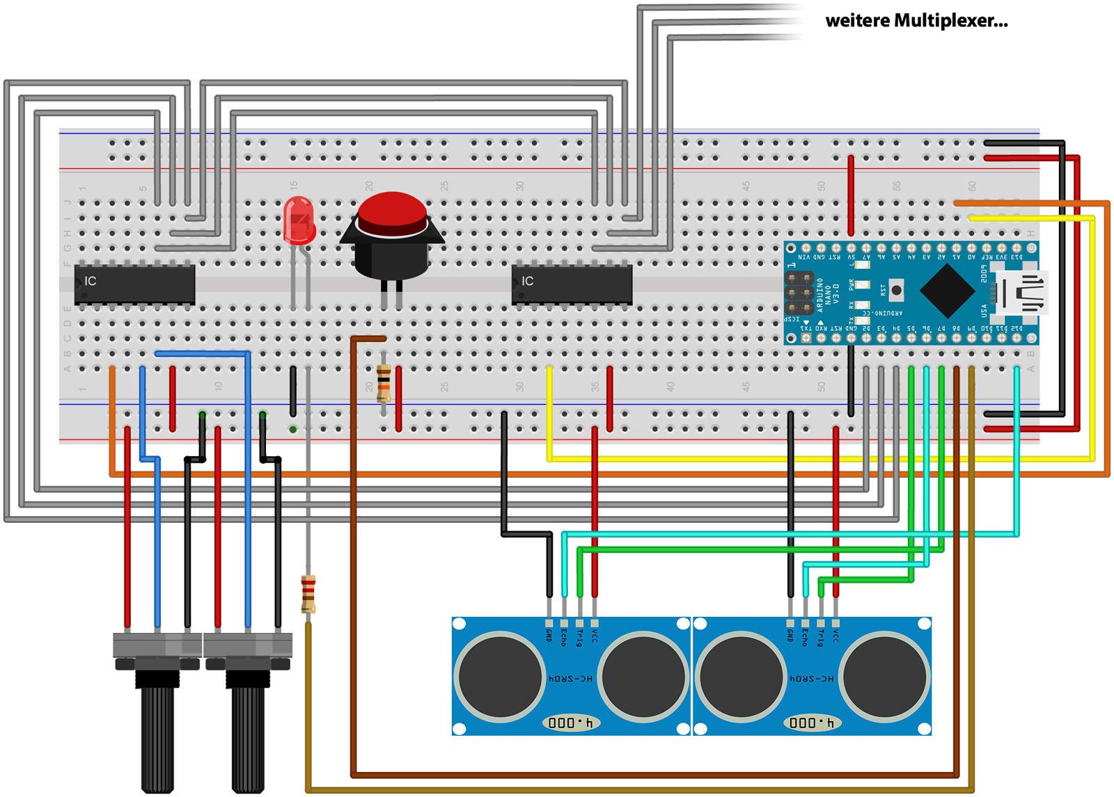 Schaltplan und Arduino-Sketch für selbstgebauten MIDI-Controller
